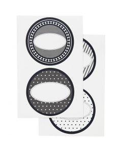 Stickers, Dia. 4 cm, 9x14 cm, 4 mix. ark/ 1 förp.