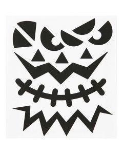 Stickers, halloween - stora ansikten, 15x16,5 cm, 1 ark