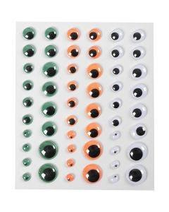 Rullögon, självhäftande, Dia. 6+8+10+12+15 mm, grön, orange, vit, 1 ark, 54 st.