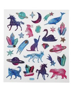 Stickers, djur med stjärntecken, 15x16,5 cm, 1 ark