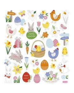 Stickers, påskmix, 15x16,5 cm, 1 ark