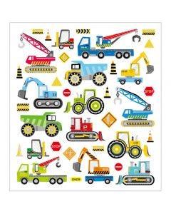 Stickers, arbetsfordon, 15x16,5 cm, 1 ark