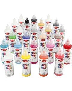 Fönsterfärg, mixade färger, 25x90 ml/ 1 förp.