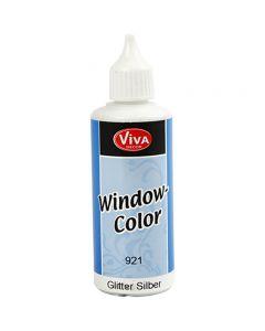 Fönsterfärg, silverglitter, 80 ml/ 1 flaska