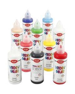 Fönsterfärg, mixade färger, 10x90 ml/ 1 förp.