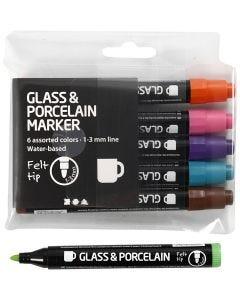 Glas- och porslinstusch, spets 1-3 mm, semi opaque, kompletterande färger, 6 st./ 1 förp.