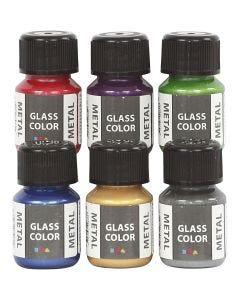 Glasfärg metall, mixade färger, 6x30 ml/ 1 förp.