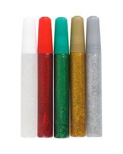 Glitterlim, mixade färger, 5x10 ml/ 1 förp.