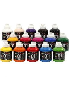 Skolfärg akryl, blank, blank, mixade färger, 15x500 ml/ 1 låda