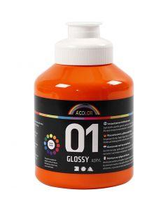 Skolfärg akryl, blank, blank, orange, 500 ml/ 1 flaska