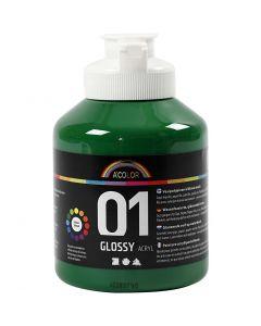 Skolfärg akryl, blank, blank, mörkgrön, 500 ml/ 1 flaska