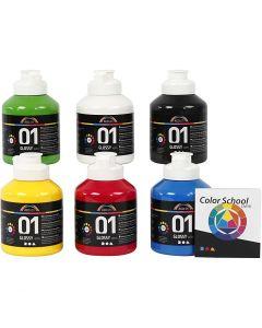 Skolfärg akryl, blank, blank, primärfärger, 6x500 ml/ 1 förp.