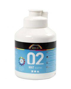 Skolfärg, akryl, matt, matt, vit, 500 ml/ 1 flaska