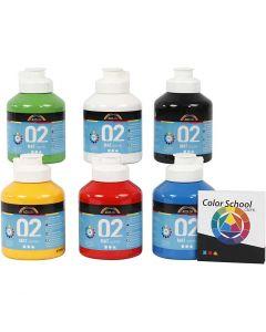 Skolfärg, akryl, matt, matt, primärfärger, 6x500 ml/ 1 förp.