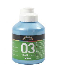 Skolfärg akryl, metallic, metallic, ljusblå, 500 ml/ 1 flaska