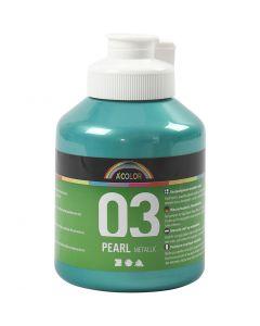 Skolfärg akryl, metallic, metallic, grön, 500 ml/ 1 flaska
