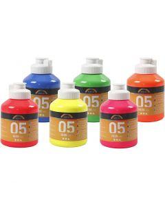 Skolfärg akryl, neon, neonfärger, 6x500 ml/ 1 låda