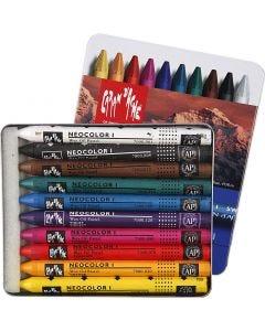 Neocolor I, L: 10 cm, tjocklek 8 mm, mixade färger, 10 st./ 1 förp.