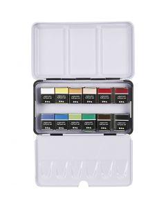 Art Aqua akvarellfärger, ½-pan, stl. 10x20 mm, mixade färger, 12 färg/ 1 förp.