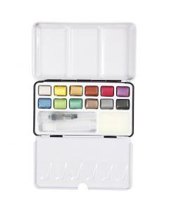 Art Aqua akvarellfärger, stl. 10x15 mm, metallicfärger, 12 färg/ 1 förp.