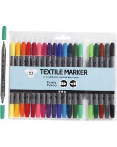 Textiltusch, spets 2,3+3,6 mm, standardfärger, 20 st./ 1 förp.