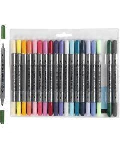 Textiltusch, spets 2,3+3,6 mm, kompletterande färger, 20 st./ 1 förp.