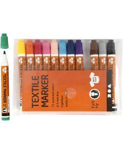 Textilpennor, spets 2-4 mm, mixade färger, 12 st./ 1 förp.