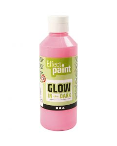 Glow in the dark, självlysande färg, fluorescerande ljusröd, 250 ml/ 1 flaska