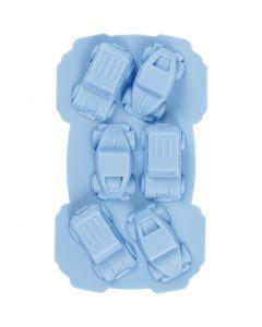 Silikonform, bilar, Hålstl. 30x45 mm, 12,5 ml, ljusblå, 1 st.