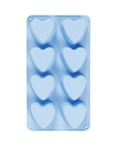 Silikonform, hjärtan, H: 3,5 cm, L: 35 cm, B: 21 cm, Hålstl. 70x60 mm, 100 ml, ljusblå, 1 st.