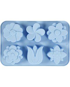Silikonform, blommor, H: 2,6 cm, L: 30 cm, B: 21 cm, Hålstl. 60x75 mm, 75 ml, ljusblå, 1 st.