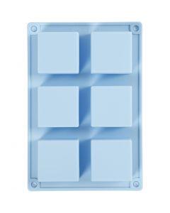 Silikonform, H: 2,5 cm, L: 21,5 cm, B: 14,5 cm, Hålstl. 5 x 5  cm, 60 ml, ljusblå, 1 st.