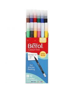Berol Colourfine, Dia. 10 mm, spets 0,3-0,7 mm, mixade färger, 12 st./ 1 förp.