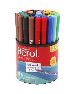 Berol Colourfine, Dia. 10 mm, spets 0,3-0,7 mm, mixade färger, 42 st./ 1 burk