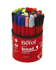 Berol Tusch, Dia. 10 mm, spets 1-1,7 mm, mixade färger, 42 st./ 1 burk