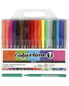 Colortime tuschpennor, spets 2 mm, mixade färger, 18 st./ 1 förp.