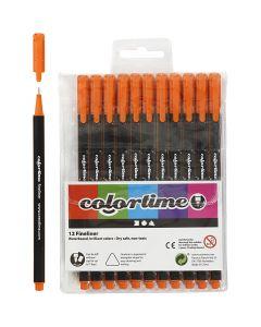 Colortime Fineliner Tusch, spets 0,6-0,7 mm, orange, 12 st./ 1 förp.