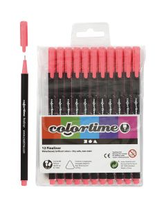 Colortime Fineliner Tusch, spets 0,6-0,7 mm, rosa, 12 st./ 1 förp.