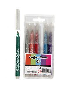 Colortime glittertusch, spets 4,2 mm, mixade färger, 6 st./ 1 förp.
