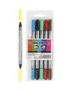 Colortime dubbeltusch, spets 2,3+3,6 mm, standardfärger, 6 st./ 1 förp.