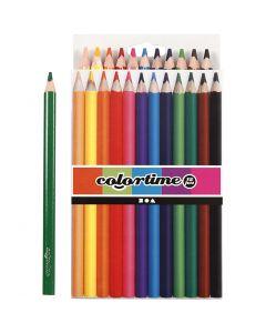 Colortime färgpennor, L: 17,45 cm, kärna 5 mm, JUMBO, mixade färger, 12 st./ 1 förp.