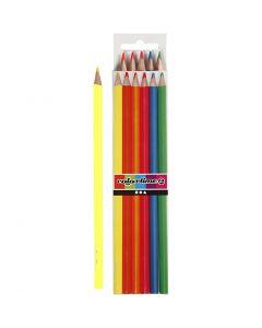 Colortime färgblyerts, L: 17,45 cm, kärna 3 mm, neonfärger, 6 st./ 1 förp.