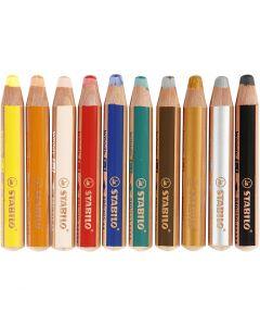 Woody 3-i-1 färgpennor, L: 11 cm, tjocklek 16 mm, kärna 10 mm, mixade färger, 10 st./ 1 förp.