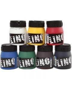 Linoleumsfärg, mixade färger, 7x250 ml/ 1 förp.