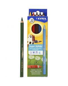 Lyra Super Ferby 1 färgpennor, L: 18 cm, kärna 3 mm, mixade färger, 6 mix./ 1 förp.