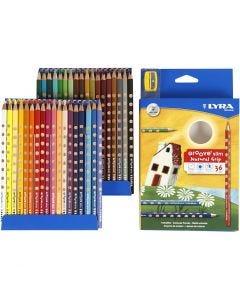 Groove Slim färgpennor, L: 18 cm, kärna 3,3 mm, mixade färger, 36 st./ 1 förp.