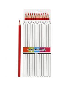 Colortime färgblyerts, L: 17 cm, kärna 3 mm, röd, 12 st./ 1 förp.