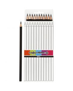 Colortime färgblyerts, L: 17 cm, kärna 3 mm, svart, 12 st./ 1 förp.