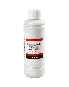 Decoupagelack, glitter, silver, 250 ml/ 1 flaska