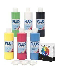 Plus Color hobbyfärg, primärfärger, 6x250 ml/ 1 förp.